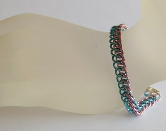 Strap half-persian pink sky blue, Chainmaille