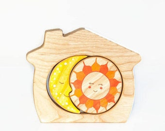 Wooden Stacker A house of sun and moon Learning toy Wooden Puzzle Montessori Toys for Toddlers