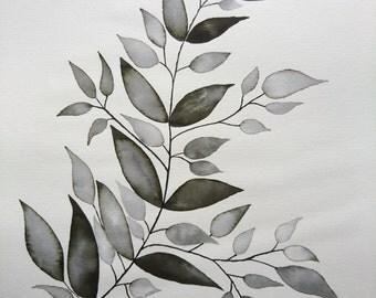 Botanical print green plant leaves branch