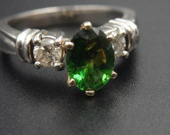 Sale! Platinum  and 18k yellow gold diamond and chrome tourmaline ring with 3,500 appraisal