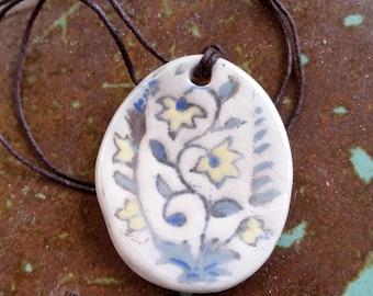 Ceramic Necklace Flower Pendant - Porcelain Jewelry, Ceramic Jewelry, Boho necklace, Boho jewellery, Pastel Jewelry, Flower Necklace