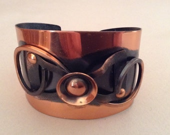 Copper Applied Patina Cuff Bracelet Made in Germany