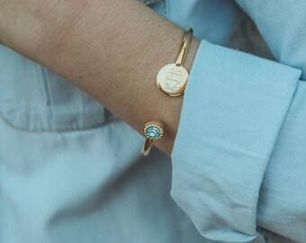 Monogrammed Disc Cuff Bracelet - Disc Cuff Bracelet - Monogram Bracelet - Bracelet