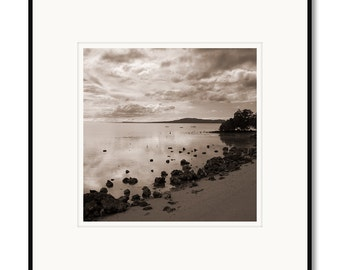 Black and white photography, sepia prints, landscape photography, Bohol Philippines, tropical island, seascape, clouds, ocean, B&W
