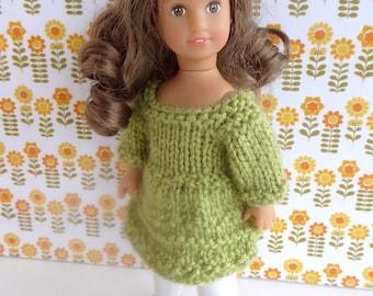 HANDKNIT DOLL DRESS for 7 inch dolls like Lottie, Mini American Girl, Madame Alexander