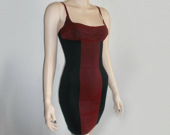 90s Vtg Shimmer Oxblood red striped corset bodycon tight wiggle Goth Grunge Clueless Mini Dress Size Small