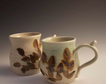 Earthenware Coffee Mug with Nature Design and thumb rest