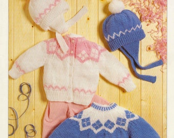 "Vintage Knitting Pattern pdf~Baby's/Toddler's Fair Isle Sweater, Cardigan and Hat~DK~18-22""~Instant Download"