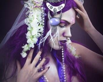Purple & white floral headdress