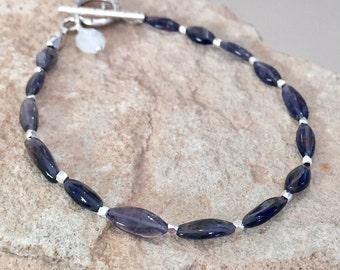 Blue bracelet, kyanite bracelet, Hill Tribe bracelet, moonstone bracelet, gemstone bracelet, charm bracelet, gift for her, charm bracelet