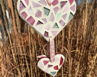 Stained Glass Mosaic Heart Ornament, Heart Decor, Stained Glass Suncatcher, Heart Decor, Wedding, Anniversary, Love, Christmas in July