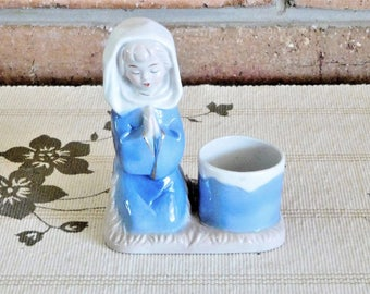 Mid century bone china praying girl figurine, candle holder; unmarked, vintage early 1960s