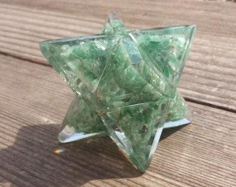 Extra Large (80-85MM) GREEN AVENTURINE Orgone Gemstone Merkaba Star (One)