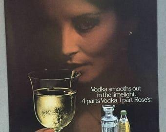 1980 Rose's Lime Juice Print Ad - Vodka & Rose's