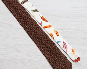 Brown beige cotton necktie, Men's slim tie, Ornament Skinny tie