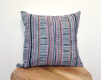 "20x20"" vintage cotton hmong batik pillow cover (pink and orange)"