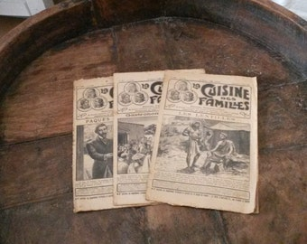 Antique French Publications, April, Easter Specials, La Cuisine des Familles, Old French Recipe Books, Antique French Paper, Old Newspapers