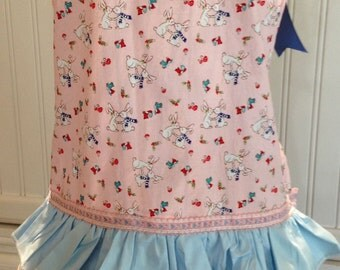 Summer Sale Daughter apron, full apron, kissing bunnies, bluebirds, blue ribbon, vintage ribbon trim, eyelet lace, blue lace, pink, blue, ru