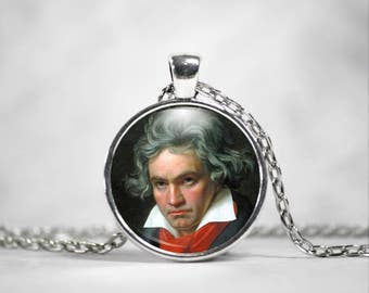 Beethoven Necklace, 25mm Pendant, Classical Composers, Ludvig Van Beethoven