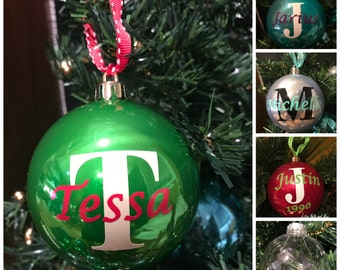 Personalized Christmas Ornament Ball Name and Initial, customizable shatterproof Christmas Gift, monogram Christmas ball, can be dated
