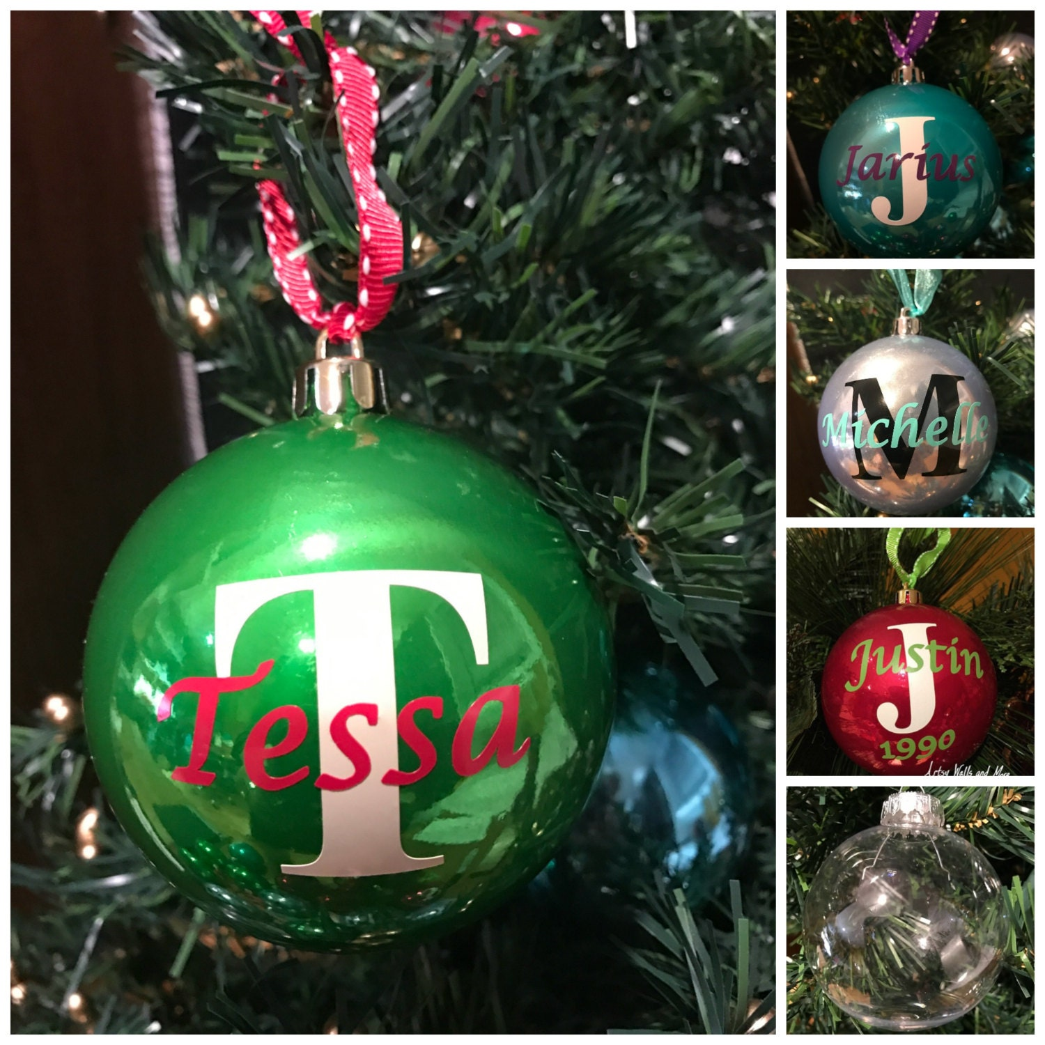 Personalized christmas ornament ball name and initial for Personalized christmas photo ornaments