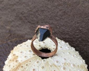 Black quartz ring | Quartz point copper ring | Morion quartz electroformed ring | Smoky quartz wide ring