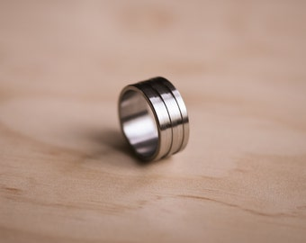 Brushed Stainless Steel Ring with Double Groove