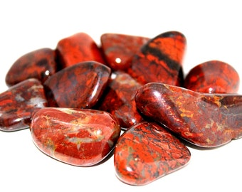Brecciated Jasper Tumbled Stone, Base Chakra Healing, Sacral Chakra Crystal, Meditation Stone, Reiki, Jasper Gemstone, Gift For Him Under 5