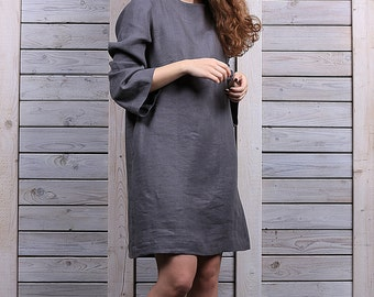Linen dress / Casual loose fit dress / Linen dress with long sleeves