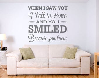 When I Saw You I Fell In Love Wall Sticker Decal Art
