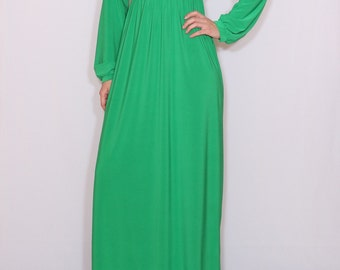 Bright green dress Long sleeve dress Maxi dress Women