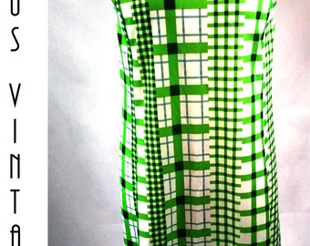"Plus Size UK 22 1960s Dress Jacket Suit Green Geometric Check Mod Mad Men EU 50 US 18 Bust 48"" 122cm"