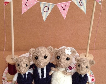 Bride and groom dormice with twin boy mice