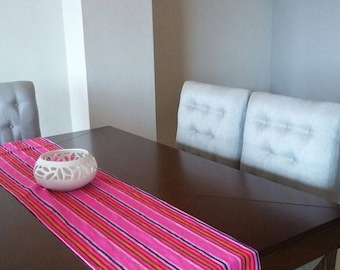 Mexican pink Rebozo Fabric, Mexican pink Table Runner, Mexican Table cloth, Aztec pink fabric, Mexican serape rebozo fabric, serape fabric