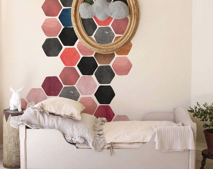 Watercolor Hexagon Wall Decal, Removable honeycomb decal, Hexagon stickers, Sticker set, Painted decal, Peel and stick #46