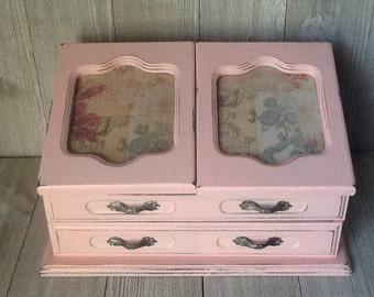 Pink Jewelry Box, Cottage Chic Jewelry Box, Chalk Painted Jewelry Box, French Inspired Decoupaged Up Cycled/Refurbished Jewelry Box