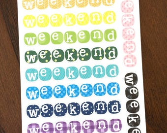 Patterned Bubble Weekend Banners - Weekend Planner Stickers - Weekend Stickers - Vertical Planner Weekend Stickers