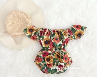 Baby Girl Romper, baby girl clothes, Baby Romper, Photography prop, Baby Bodysuit, Vintage Boho romper, Birthday outfit, babyshower gift
