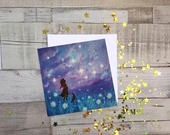 Make a Wish, Fine Art, Blank Greetings Card, UK Seller.