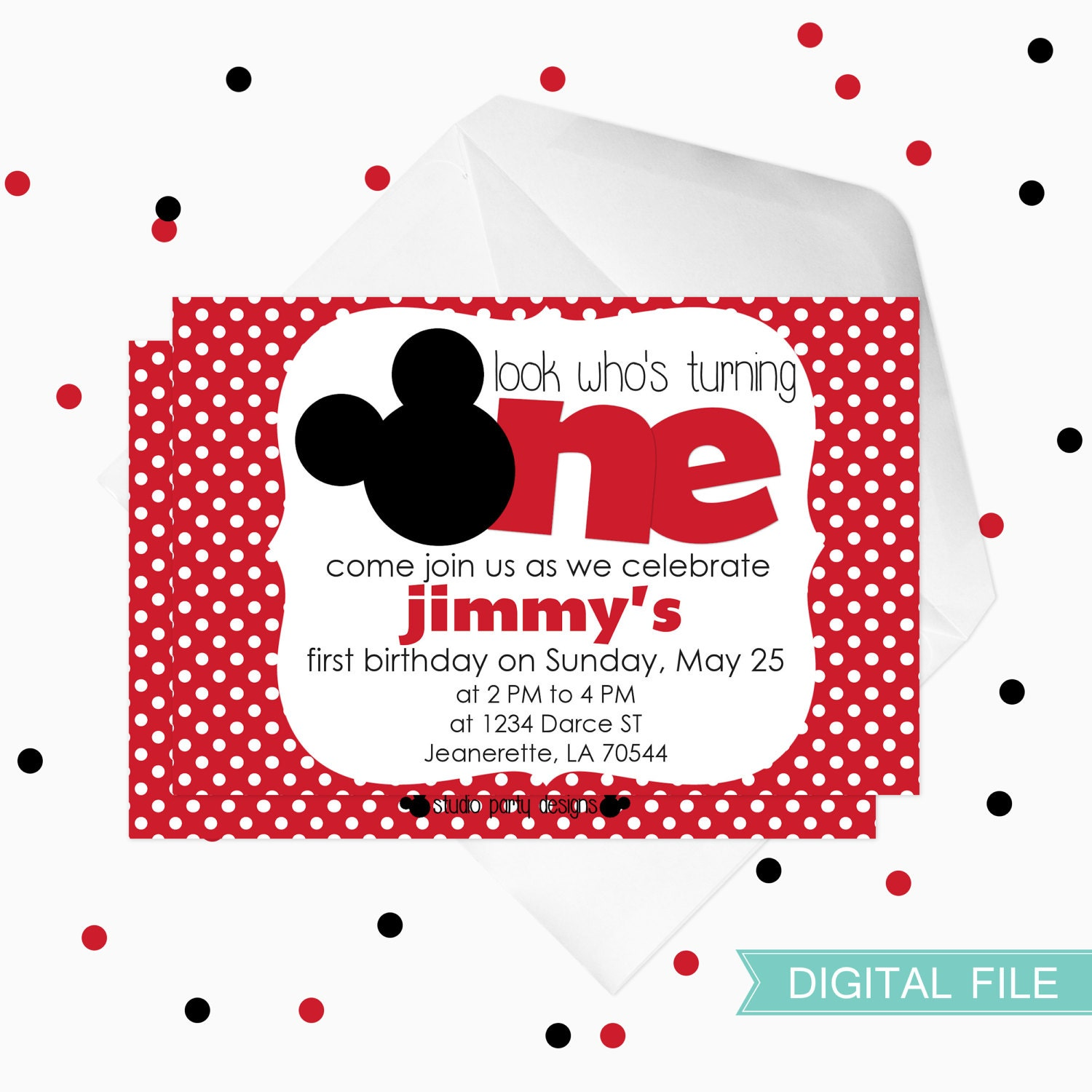 Snap Mickey mouse Birthday Invitation first birthday by ...