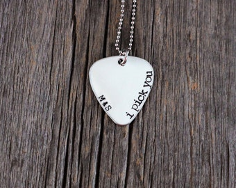 "Personalized ""i pick you"" hand stamped guitar pick necklace with initials / brushed aluminum guitar pick / valentines day"