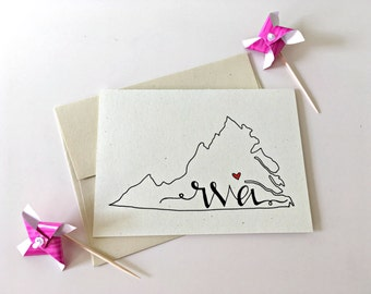 RVA Cards / Richmond Map / Richmond Virginia Cards / State Map Stationery