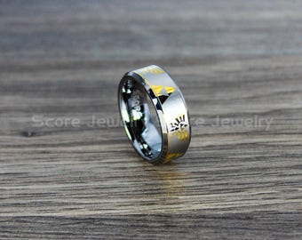 FREE SHIPPING FREE Custom Engraving Tungsten Band with Beveled Edge Zelda Triforce Inspired Pattern Ring - 8mm Yellow Tungsten Wedding Ring