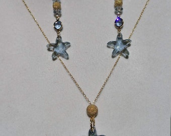 Swarovski Blue Shadow, Sea Star (Starfish) Earrings and Necklace, set