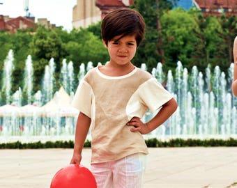 Short sleeve linen shirts for boys/ Toddler boy summer blouse shirt/ Boys shirt blouse/ Toddlers round neck linen blouse/ Kids cream blouse