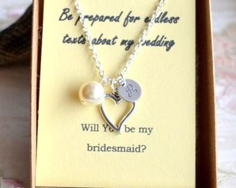 Heart necklace set of 5 five Bridesmaid jewelry set of 5 Personalized Bridesmaid gift idea Heart necklace Will You be my bridesmaid gift 5