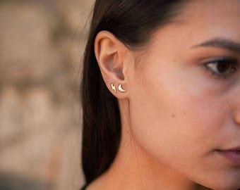 Crescent moon studs - half moon earrings - delicate moon studs - dainty gold crescent moon stud earrings - tiny gold moon earrings -