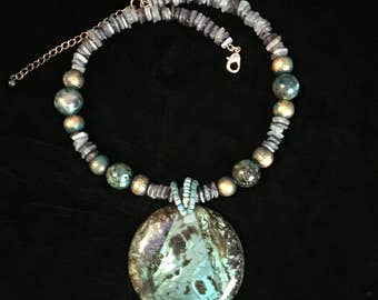 Cool turquoise and blue beaded Pendant necklace