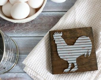 Farmhouse Animal Wood Signs - Rustic Farmhouse - Galvanized Metal Farmhouse Sign - Farmhouse Kitchen Decor