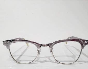 Aluminum Cat Eye Glasses Frames, New Old Stock, Vintage 50s 60s Cateye Browline Eyeglasses, Sunglasses Frames, NOS, Retro Rockabilly Eyewear